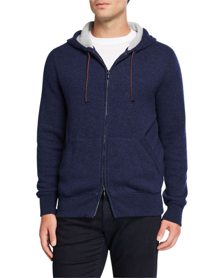 Image 2 of 3: Loro Piana Men's Snuggly Cashmere Hoodie Jacket