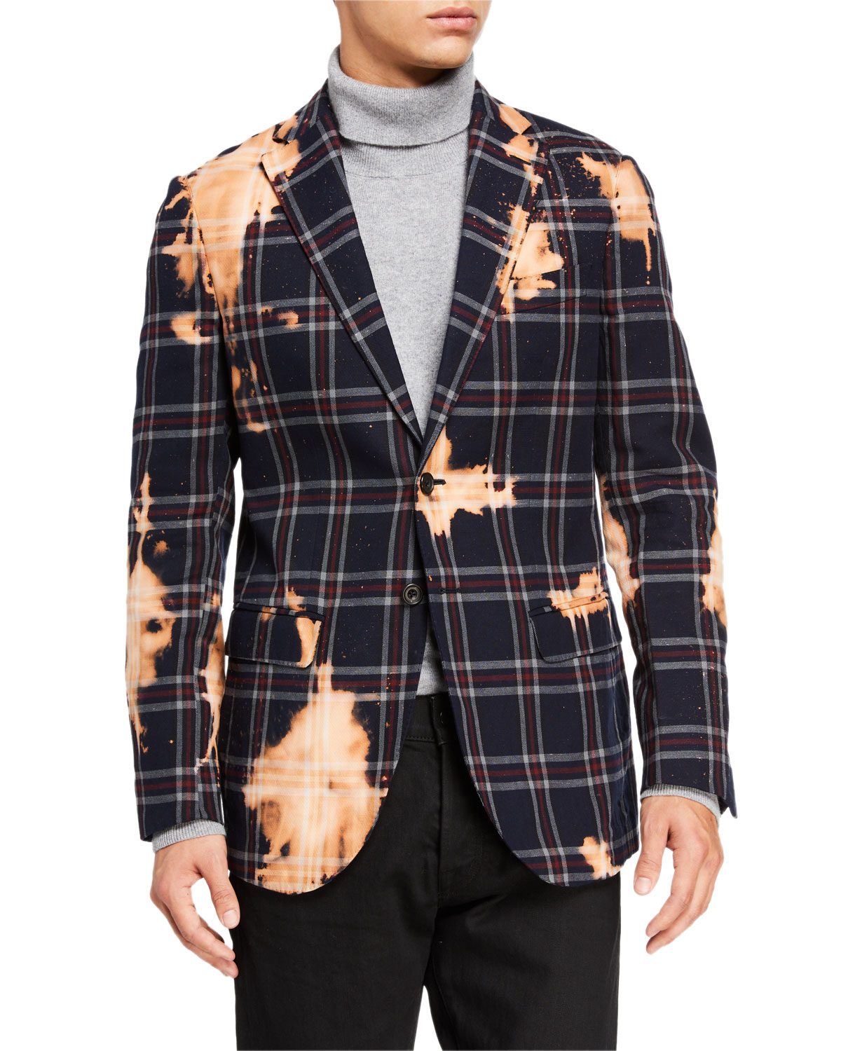 R13 Men's Distressed Tailored Two-Button Jacket