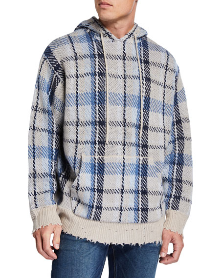 R13 Sweaters Men's Plaid Hoodie Sweater w/ Raw-Edge Trim