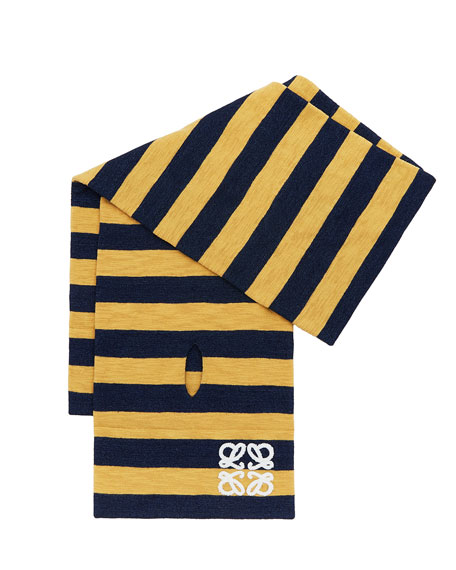 Loewe Men's Striped Logo-Embroidered Scarf