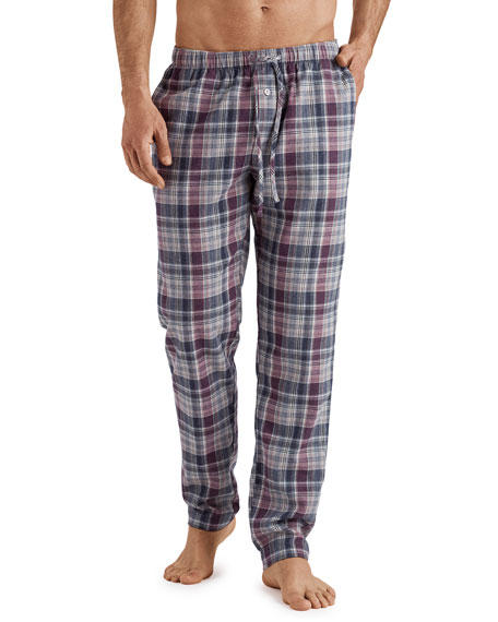 Hanro Men's Thilo Plaid Cotton Pajama Pants