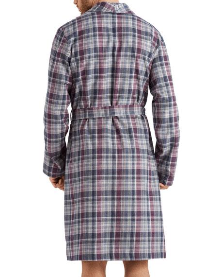 Hanro Men's Thilo Plaid Cotton Robe