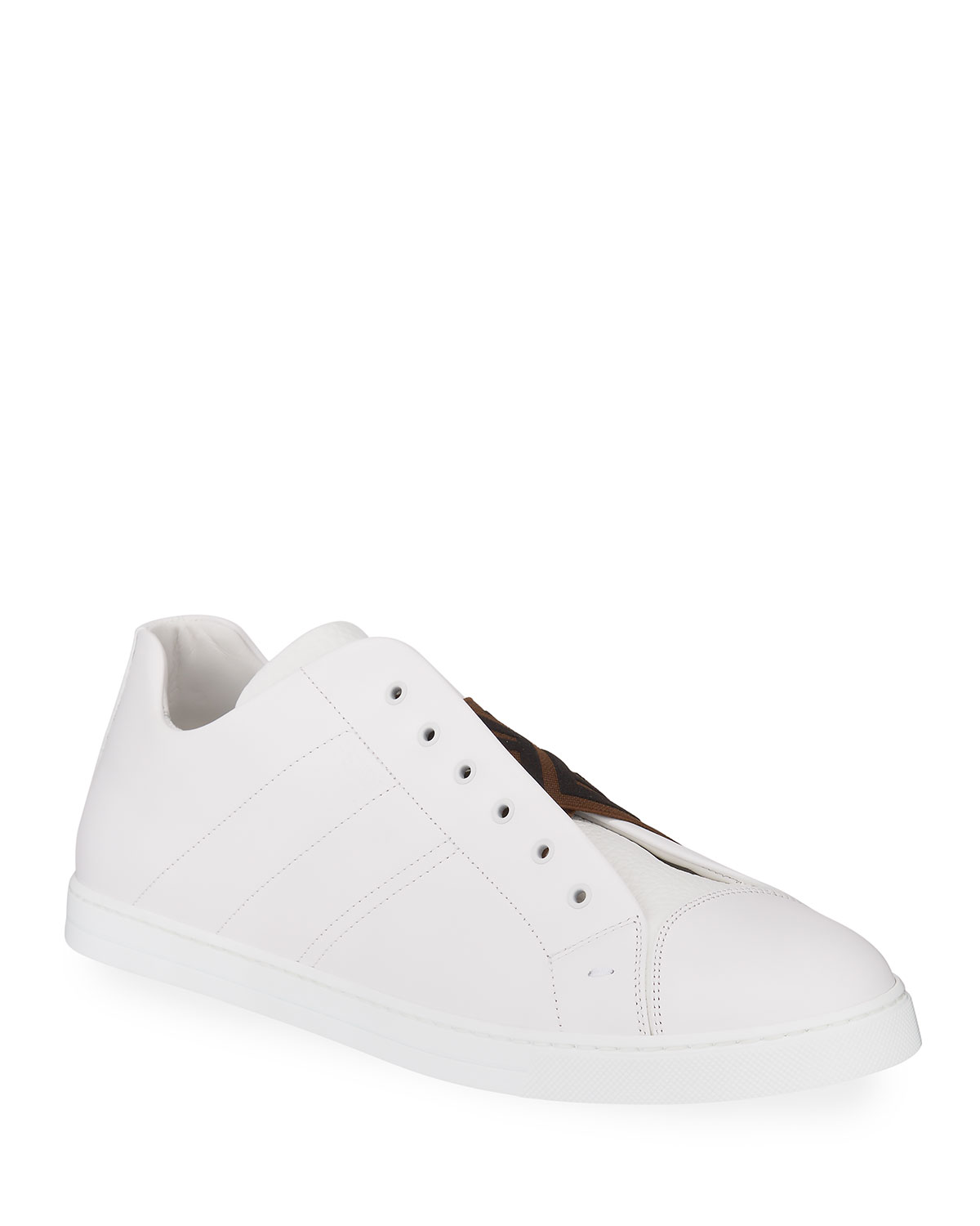 Laceless Leather FF-Strap Sneakers