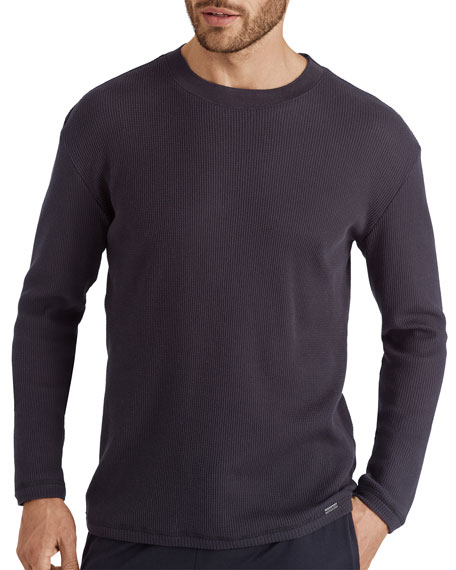 Hanro Men's Night & Day Solid Pique Cotton Long-Sleeve Crewneck T-Shirt