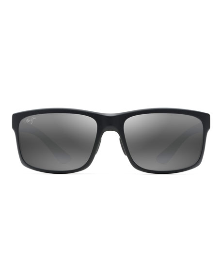 Image 2 of 2: Maui Jim Men's Pokowai Arch Polarized Rectangle Sunglasses