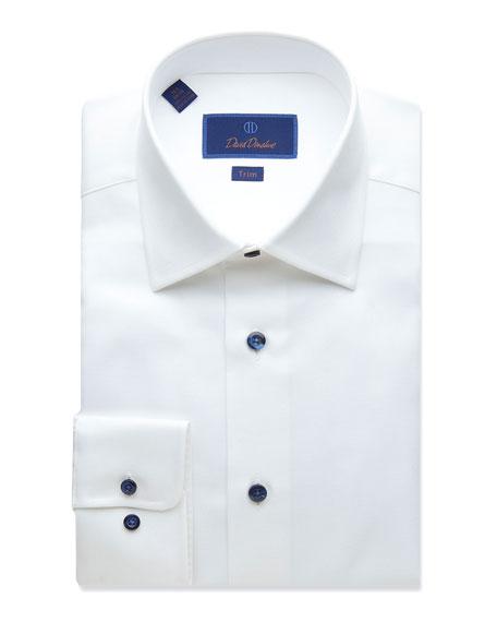 David Donahue Men's Trim-Fit Textured Dress Shirt