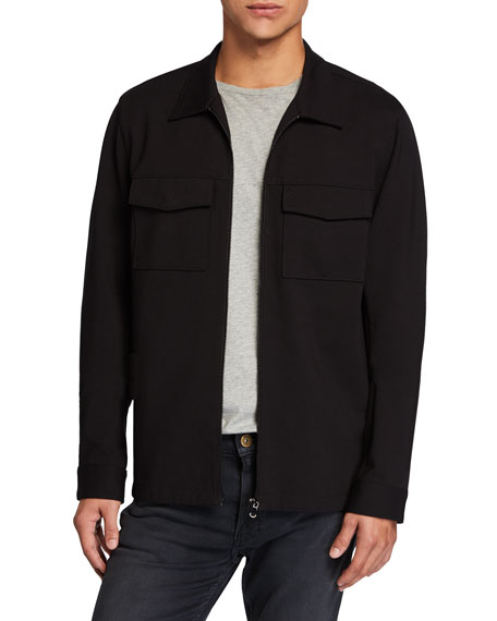 PAIGE Men's Luca Solid Zip-Front Shirt Jacket