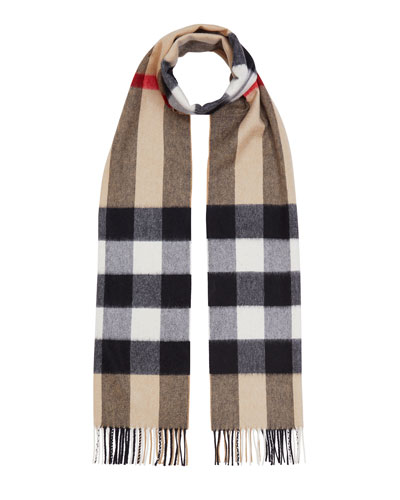 Burberry Men's Half Mega Check Cashmere Scarf