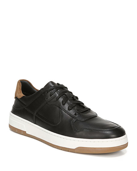 Vince Men's Mayer-2 Smooth Leather Sneakers With Contrast Suede In Black/ Black