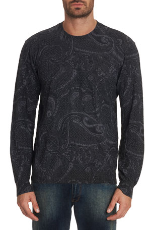 Robert Graham Men's Bonanova Paisley-Print Crewneck Sweater
