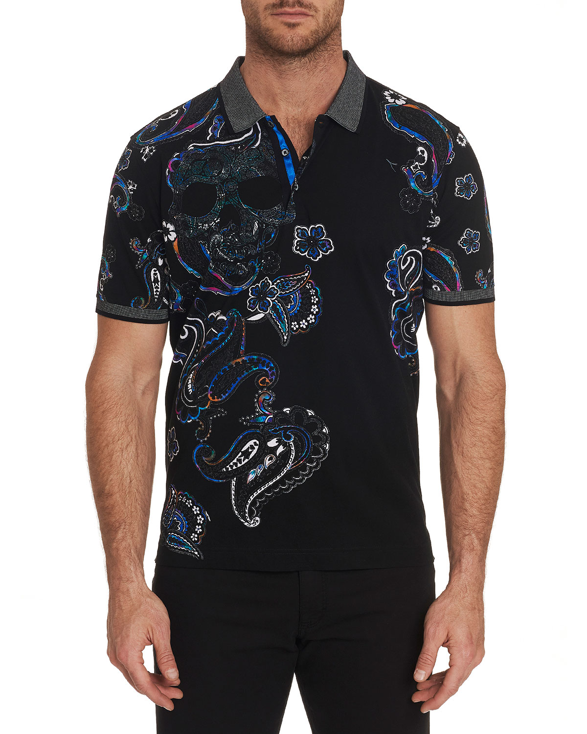 Men's Skull Island Contrast Collar Polo Shirt by Robert Graham