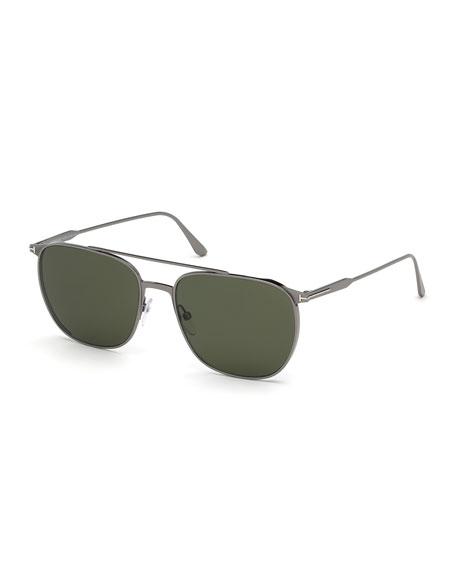 TOM FORD Men's Kip Shiny Ruthenium Aviator Sunglasses