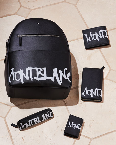 Image 2 of 2: Montblanc Men's Saffiano Leather Graffiti Logo Wallet