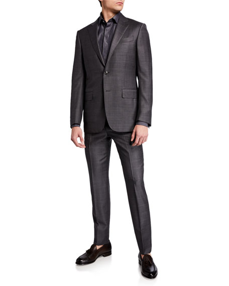 Image 2 of 4: Ermenegildo Zegna Men's Tonal Plaid Two-Piece Wool Suit