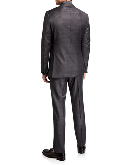 Image 3 of 4: Ermenegildo Zegna Men's Tonal Plaid Two-Piece Wool Suit