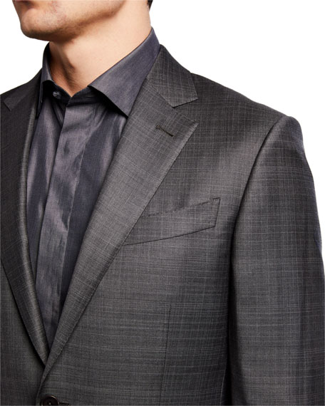 Image 4 of 4: Ermenegildo Zegna Men's Tonal Plaid Two-Piece Wool Suit