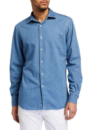 Ermenegildo Zegna Men's Light-Wash Denim Trim-Fit Sport Shirt