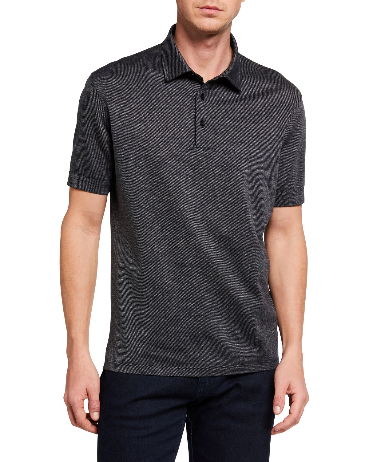 Ermenegildo Zegna Men's Twill Cotton Regular-Fit Polo Shirt