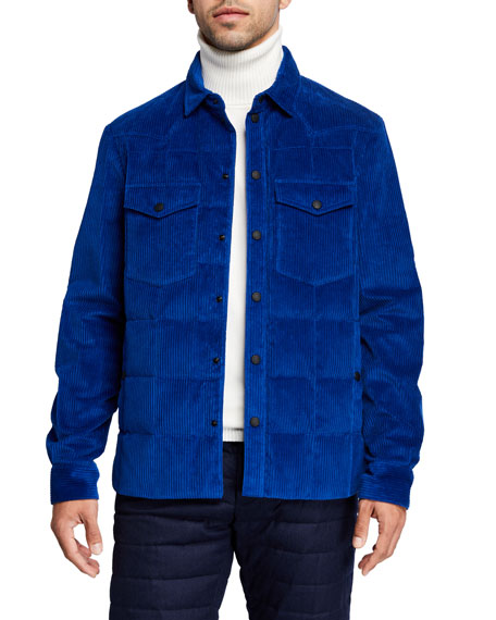 Moncler Coats Men's Grenoble Gelt Quilted Corduroy Coat