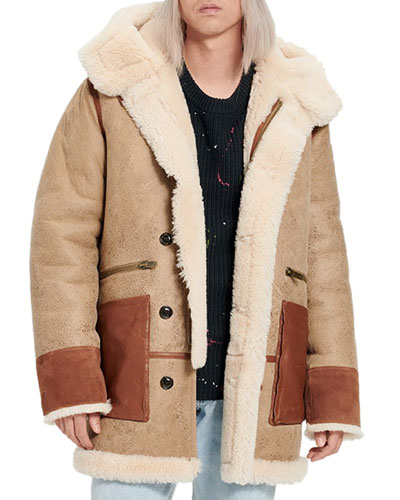 Men's Yates Shearling Hooded Coat
