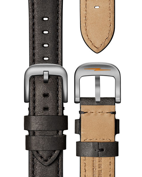 Shinola Men's 43mm Square Guardian  3-Hand Date Watch  with Leather Strap