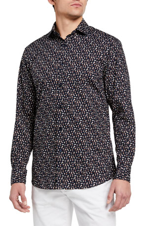 Ermenegildo Zegna Men's Graphic Trim-Fit Sport Shirt