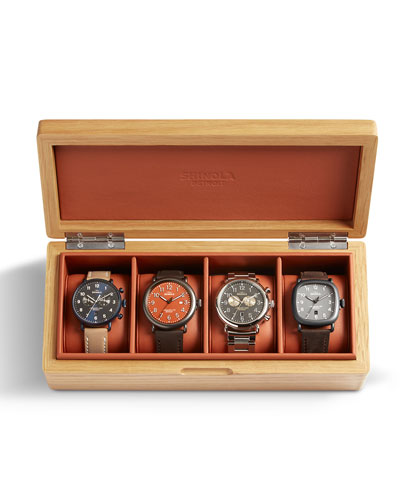 Shinola Men's Oak/Leather Four-Watch Storage Box