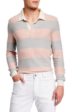 Ermenegildo Zegna Men's Rugby Stripe Long-Sleeve Polo Shirt