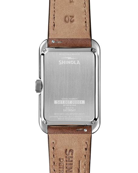 Shinola Men's Omaha Rectangular Sub-Second Leather Watch