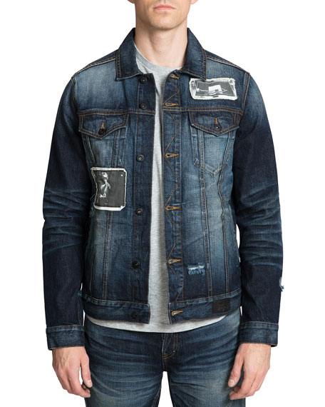 PRPS Men's Miles Davis Patched Denim Jacket with Embroidery