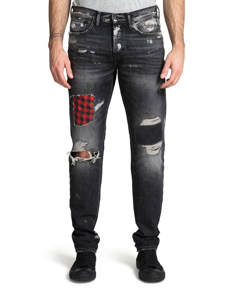 PRPS Men's Demon Ripped/Bleached Patchwork Jeans
