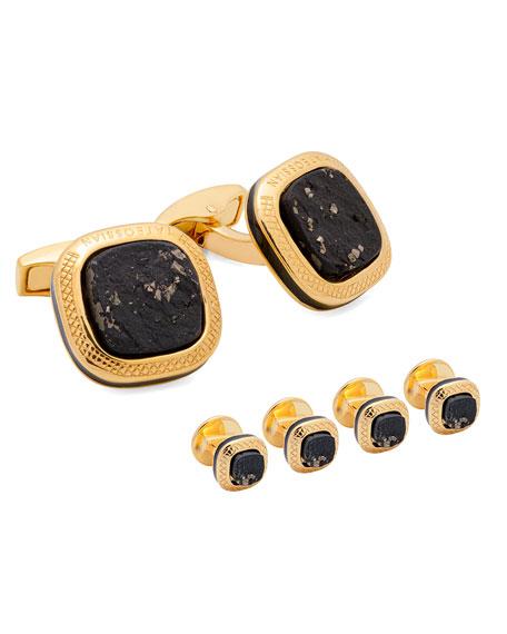 Tateossian Men's Slate Pyrite Yellow Gold-Plated Cuff Links and Stud Set