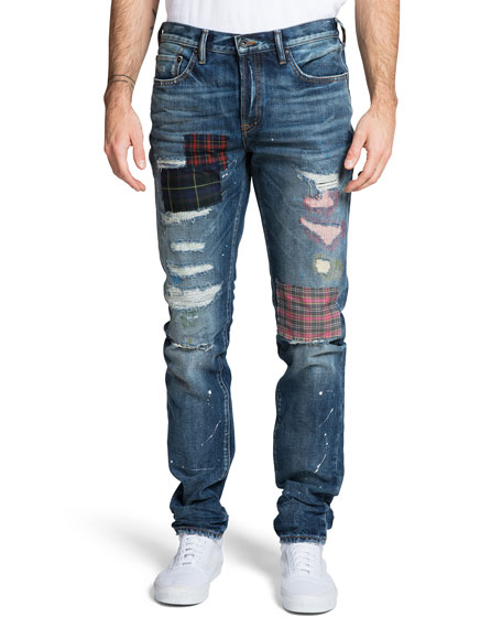 PRPS Men's Le Sabre Ripped Jeans with Plaid Patches