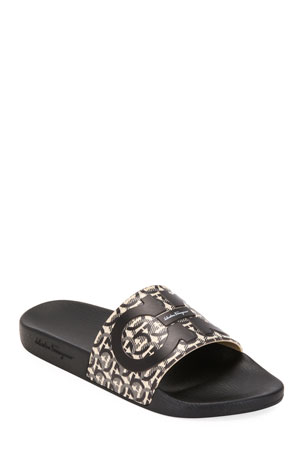Salvatore Ferragamo Men's Groove 6 Gancini Slide Sandals