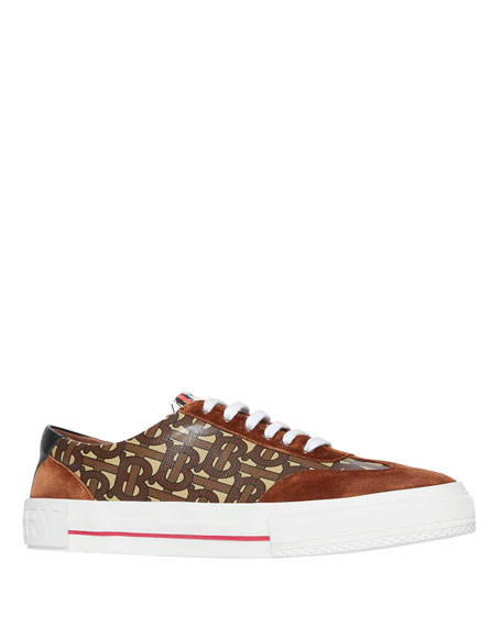Burberry Men's Nelson TB Monogram Sneakers with Suede Trim
