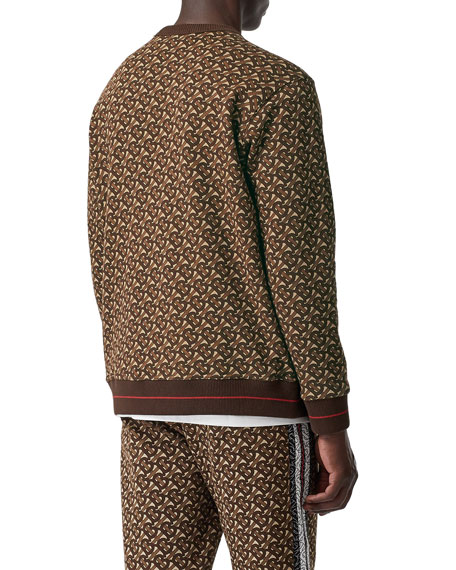 Burberry Men's Marlowe TB-Monogram Sweatshirt with Stripes