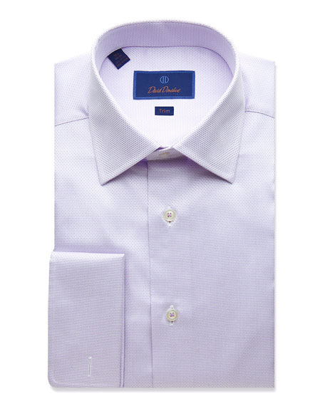 David Donahue Men's Trim-Fit Micro Dobby Dress Shirt with French Cuffs