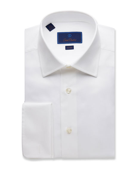 David Donahue Men's Trim-Fit Micro-Birdseye Dress Shirt with French Cuffs