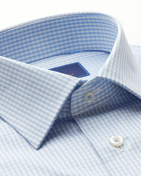 David Donahue Men's Trim-Fit Classic Gingham Dress Shirt with French Cuffs