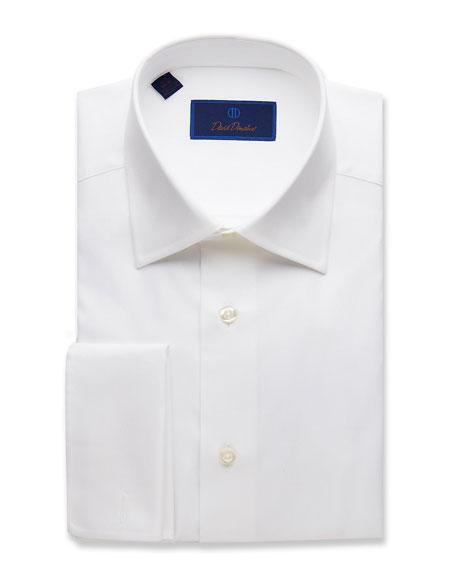 David Donahue Men's Regular-Fit Micro-Birdseye Dress Shirt with French Cuffs