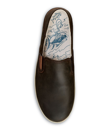 Olukai Men's Kahu 'Ili Waxed Nubuck Leather Slip-On Sneakers
