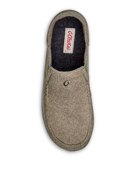 Olukai Men's Moloa Hulu Heathered Knit Slippers