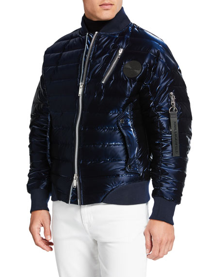 Image 2 of 3: Karl Lagerfeld Men's Oversized Liquid Puffer Bomber Jacket