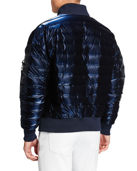 Image 3 of 3: Karl Lagerfeld Men's Oversized Liquid Puffer Bomber Jacket