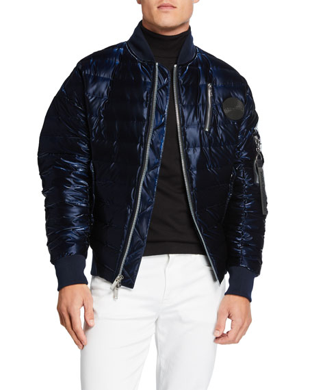 Image 1 of 3: Karl Lagerfeld Men's Oversized Liquid Puffer Bomber Jacket