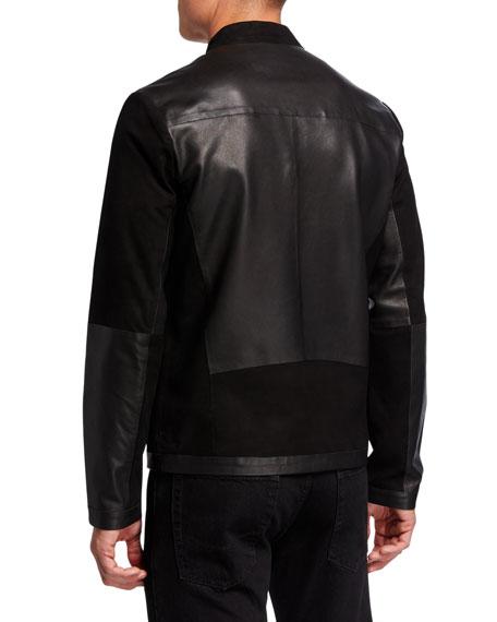 Karl Lagerfeld Men's Blocked Leather Racer Jacket