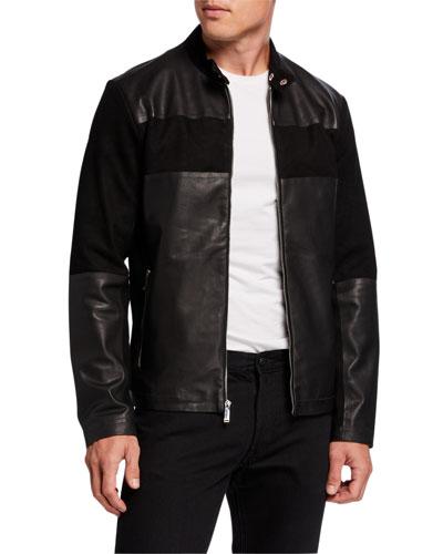 Men's Blocked Leather Racer Jacket