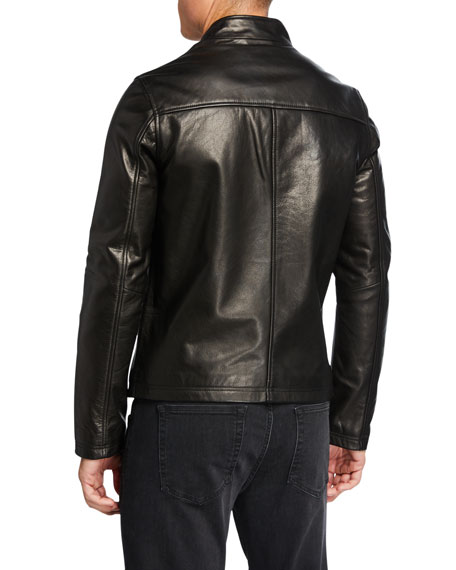 Karl Lagerfeld Men's Leather Racer Jacket with Zip Pockets