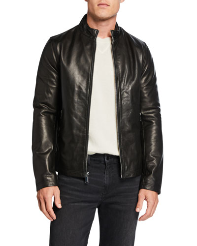 Men's Leather Racer Jacket with Zip Pockets