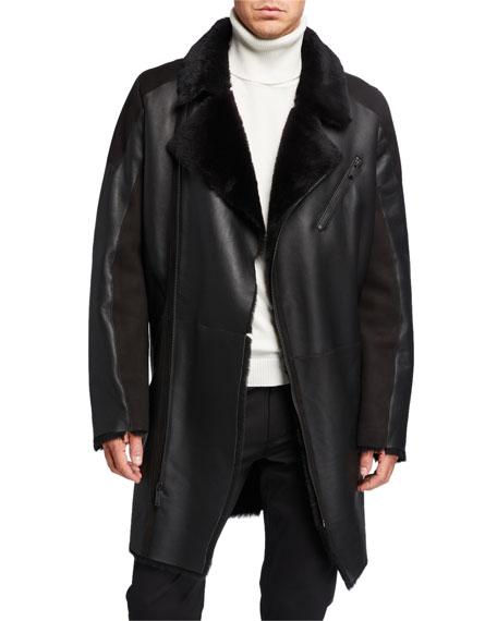 Karl Lagerfeld Men's Shearling Asymmetrical Long Jacket